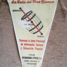 Banderines de colección: RUTA VINO BLANCO 1963. Lote 197027547