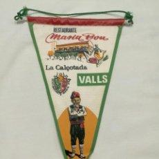 Banderines de colección: BANDERIN VALLS, MASIA BOU, LA CALÇOTADA. Lote 197374020