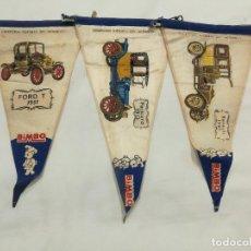 Banderines de colección: 3 BANDERINES BIMBO CONHES ANTIGUOS. Lote 197374142