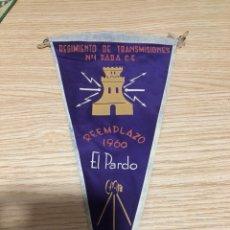 Banderines de colección: BANDERÍN REGIMIENTO DE TRANSMISIONES EL PARDO. Lote 197456943
