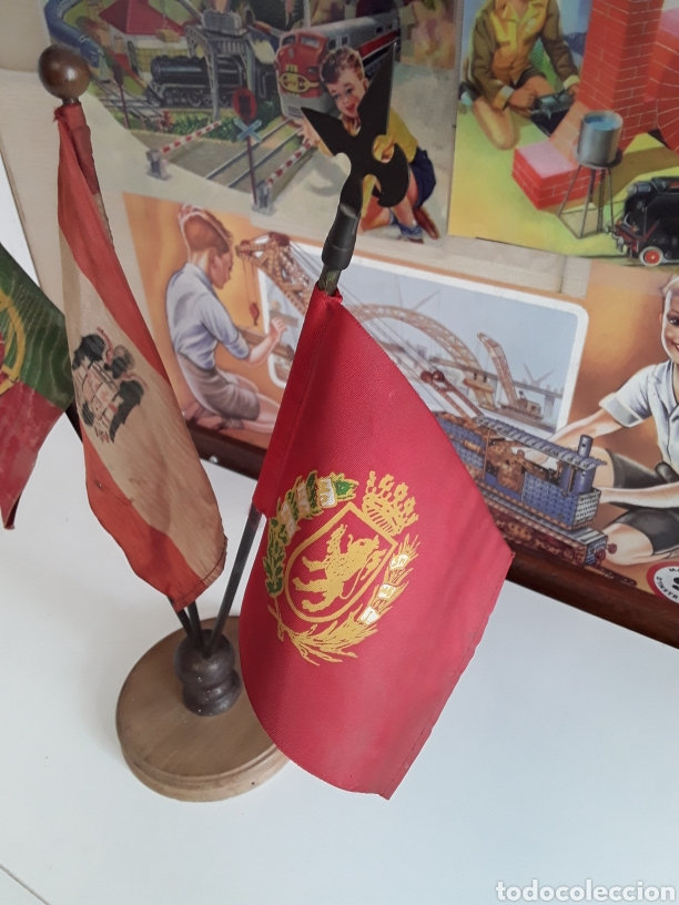 Banderines de colección: Antiguas Banderas de despacho on las banderas de PORTUGAL - ESPAÑA - ZARAGOZA (EPOCA DE FRANCO) - Foto 2 - 203328591