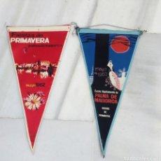 Banderines de colección: LOTE 2 BANDERINES VINTAGE AÑOS 60 FIESTAS DE PRIMAVERA PALMA DE MALLORCA 1962 Y 1963. Lote 203473843