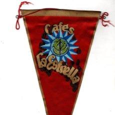 Galhardetes de coleção: BANDERIN PUBLICITARIO CAFES LA ESTRELLA. AÑOS 60. Lote 208468878