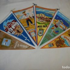 Banderines de colección: VINTAGE - COLECCION DE 6 ANTIGUOS BANDERÍNES - MÁLAGA Y PROVINCIA / AÑOS 50 / 60 ¡MIRA, PRECIOSOS!. Lote 210044448