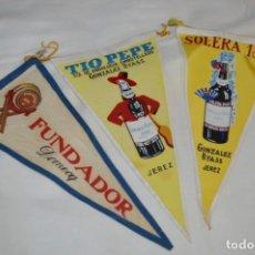 Banderines de colección: VINTAGE - COLECCIÓN DE 3 ANTIGUOS BANDERÍNES - FUNDADOR / TIO PEPE Y SOLERA 1847 -- AÑOS 50 / 60. Lote 210045497