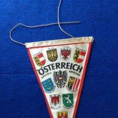 Banderines de colección: ANTIGUO BANDERIN CON PUBLICIDAD DE OSTERREICH. AUSTRIA. AL DORSO EL ESCUDO DE TIROL. Lote 216021260