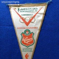 Banderines de colección: ANTIGUO BANDERIN DE LOS I JUEGOS DEL CANTABRICO. SANTANDER. PUBLICIDAD DE LA CASERA.. Lote 217684953