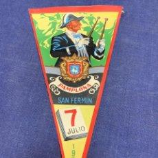 Banderines de colección: BANDERIN PAMPLONA SAN FERMIN 1958. Lote 223711500