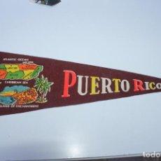 Banderines de colección: ANTIGUO BANDERIN PUERTO RICO, CARIBBEAN SEA,TAMAÑO GRANDE, AÑOS 60-70. Lote 224179845