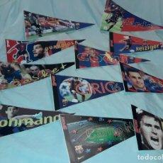 Banderines de colección: LOTE DE 11 BANDERINES ADHESIVOS FUTBOL CLUB BARCELONA BARÇA AÑO 1998/99. Lote 225280457