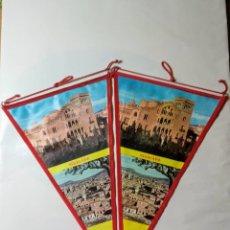 Banderines de colección: DOS BANDERINES DE IGUALADA CON IMAGEN DEL SANT CRIST Y VISTA AÉREA DE LA CIUDAD. Lote 225543080