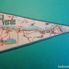 Banderines de colección: COSTA VERDE DE CASTROPOL A AVILES GRAN BANDERIN DE FIELTRO. Lote 227582565