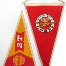 Banderines de colección: BANDERIN GUZZI Y SHELL. 2 BANDERINES. LOGOTIPOS. MOTOS. Lote 229267075
