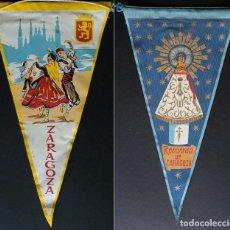 Banderines de colección: BANDERIN ZARAGOZA JOTA CON ESCUDO Y BASILICA EL PILAR. 2 BANDERINES ANTIGUOS. Lote 236051010