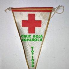 Banderines de colección: BANDERIN CRUZ ROJA ESPAÑOLA DE TORTOSA (TARRAGONA) AÑOS 60. Lote 240884435