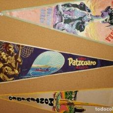 Banderines de colección: BANDERÍN TELA PLASTIFICADA. LAGO PATZCUARO, MÉXICO. 55,5CM.. Lote 241184380