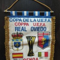 Banderines de colección: BANDERIN COPA UEFA REAL OVIEDO GENOA 1991. Lote 244434370