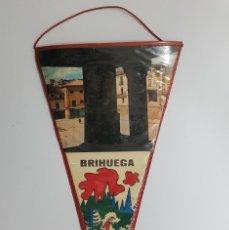 Banderines de colección: BANDERIN BRIHUEGA PLAZA COSO CARNICERIA SOPORTALES. CAZA (GUADALAJARA). 15 X 29 CM. Lote 248999780