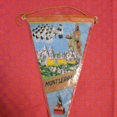 Banderines de colección: BANDERIN ANTIGO MONTSERRAT BARCELONA CON SU ENVOLTORIO DE PLASTICO. Lote 253799680