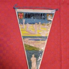 Banderines de colección: BANDERIN ANTIGUO AMPURIAS CON SU ENVOLTORIO DE PLASTICO. Lote 253803910