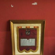 Banderines de colección: BANDERÍN TESTAMENTO FRANCISCO FRANCO. ( SEDA NATURAL ) COLOR GRANATE ROMANO . VÍCTOR VIVA CRISTO REY. Lote 261643995