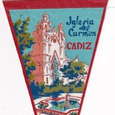 Banderines de colección: BANDERÍN - IGLESIA DEL CARMEN CADIZ AÑOS 50. Lote 262926730