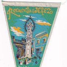 Banderines de colección: BANDERÍN RECUERDO DE JEREZ PLAZA DE LA ASUNCIÓN AÑOS 50. Lote 262930055