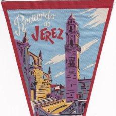 Banderines de colección: BANDERÍN RECUERDO DE JEREZ IGLESIA COLEGIAL AÑOS 50. Lote 262931700