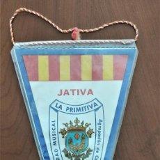 Banderines de colección: BANDERÍN AÑO 1969 Y EN BUEN ESTADO DE LA SOCIEDAD MUSICAL LA PRIMITIVA DE JÁTIVA (VALENCIA). Lote 263034890