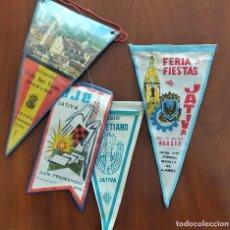Banderines de colección: LOTE 4 BANDERINES DIFERENTES DE JÁTIVA (VALENCIA) AÑOS 60-70. Lote 263035270