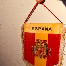 Banderines de colección: ANTIGUO BANDERIN,BANDERA PARA COCHE ESCUDO ESPAÑA FRANQUISTA,FRANCO,FALANGE,ÁGUILA DOBLE CARA ESTAMP. Lote 263770245