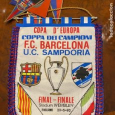 Fanions de collection: BANDERIN FINAL COPA DE EUROPA BARCELONA SAMPDORIA BUEN ESTADO. Lote 267422564