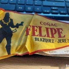 Banderines de colección: BANDERIN DE COÑAC -FELIPE II-BLAZQUEZ JEREZ 26CM MIDE DE LARGO. Lote 276219803
