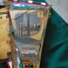 Banderines de colección: BANDERÍN REALES ALCAZARES DE SEVILLA. ESCUDO CON AGUILA. Lote 283200363