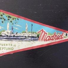 Banderines de colección: ANTIGUO BANDERIN DE MADRID FUENTE DE NEPTUNO - AÑOS 60 - MUY RARO Y DIFICIL - 27 CM - EN BUEN ESTADO. Lote 287854543
