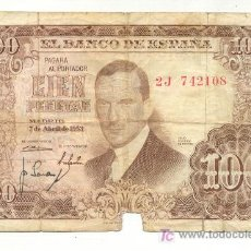 Coleccionismo Billetes de transporte: BILLETE 100 PESETAS. JULIO ROMERO DE TORRES. 7 DE ABRIL DE 1953. 2J 742108.. Lote 86745187