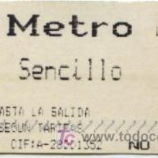Coleccionismo Billetes de transporte: BILLETE DE METRO DE MADRID// BILLETE DE METRO SENCILLO // 2000. Lote 9353045