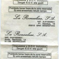 Coleccionismo Billetes de transporte: BILLETE DE BUS DE (NAVARRA) // LA RONCALESA - SAN SEBASTIAN // PAMPLONA - SAN SEBASTIAN //2001. Lote 9499276