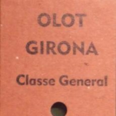 Coleccionismo Billetes de transporte: REPRODUCCIÓN BILLETE DE TREN - FERROCARRIL OLOT-GIRONA. Lote 10297535