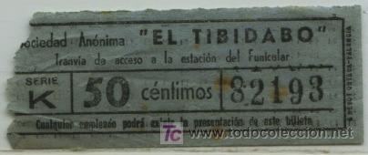 BILLETE DE TRANVIA DE BARCELONA // TRANVIA DEL TIBIDABO // 50 CTS. (Coleccionismo - Billetes de Transporte)