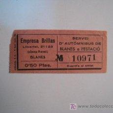 Coleccionismo Billetes de transporte: BILLETE AUTO-OMNIBUS BLANES - ESTACION - 1934. Lote 11640842