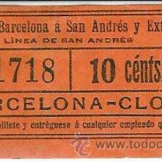 Coleccionismo Billetes de transporte: TRANVIAS DE BARCELONA A SAN ANDRES Y EXTENSIONES-- LINEA SAN ANDRES. Lote 27462906