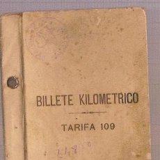 Coleccionismo Billetes de transporte: BILLETE KILOMETRICO MADRID ZARAGOZA ALICANTE AÑO 1939 TEMA FERROCARRIL. Lote 15635389