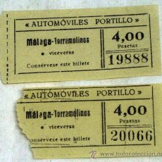 Coleccionismo Billetes de transporte: 2 TICKETS BILLETES MÁLAGA TORREMOLINOS AUTOMÓVILES PORTILLO. Lote 14945521