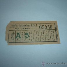 Coleccionismo Billetes de transporte: BILLETE CAPICUA Nº 05250 TRANVIAS DE BARCELONA 10 CTS A-5 . Lote 16045065