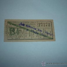 Coleccionismo Billetes de transporte: BILLETE CAPICUA Nº 27272 TRANVIAS DE BARCELONA A S ANDRES Y EXTENSIONES 10 CNTS B-4. Lote 16045258