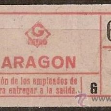 Coleccionismo Billetes de transporte: 210473 BILLETES CAPICUAS ARAGON G 4 40C.. Lote 16152863