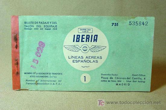 Antiguo billete de avion madrid barcelona l comprar for Billetes de avion baratos barcelona paris
