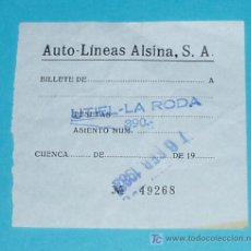 Coleccionismo Billetes de transporte: BILLETE AUTO-LÍNEAS ALSINA. UTIEL- LA RODA. FEBRERO/1982. Lote 17717254