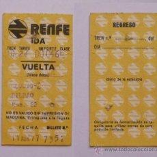 Coleccionismo Billetes de transporte: TICKET/BILLETE TREN RENFE 1977 LLODIO-BILBAO. Lote 18053040